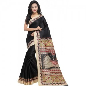9bd098c9279 Buy Black Color Printed Kalamkari-saree With Blouse Kal-001 online ...