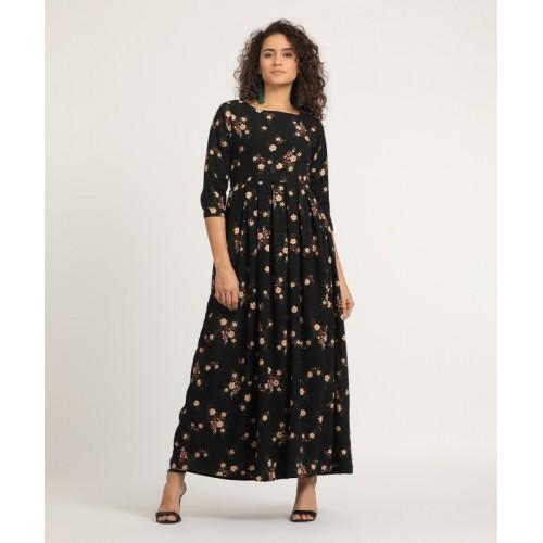 660f97b33a5 Buy Tokyo Talkies Black Polyester Floral Printed Maxi Dress online ...