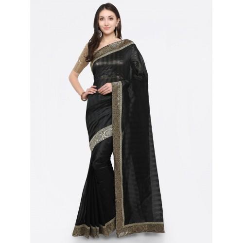 897a346a65f9d4 Divastri Embroidered Fashion Silk Cotton Blend Saree(Black, Silver)