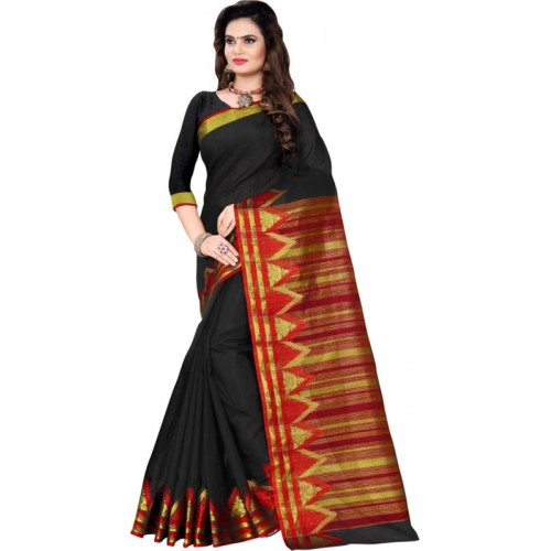 Saara Solid, Striped Fashion Cotton Silk Saree(Black, Red)