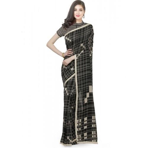 8486364e23601e Buy Divastri Printed Fashion Cotton Silk Saree(Black) online | Looksgud.in