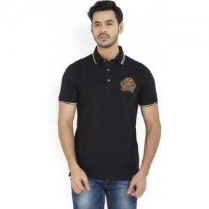 John Players Solid Men's Polo Neck Black T-Shirt