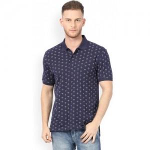 John Players Floral Print Men's Polo Neck Blue T-Shirt