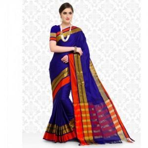 1e8c7bc734075 Buy Jaypore Blue   Brown Striped Cotton Saree online