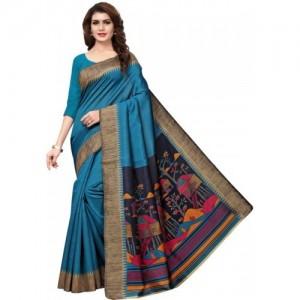 71079b9b2 Buy lovisa fashion Blue Printed Mysore Silk Saree online