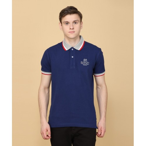 John Players Solid Men's Polo Neck Blue T-Shirt