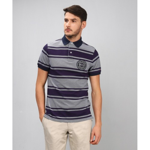 cfaac5bc Buy Tommy Hilfiger Striped Men's Polo Neck Grey, Dark Blue T-Shirt online |  Looksgud.in