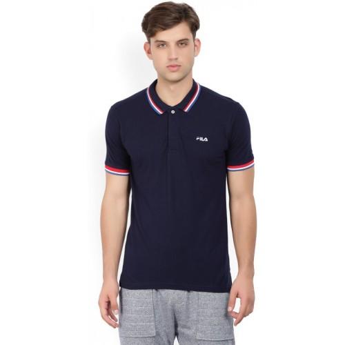Buy Fila Solid Men Polo Neck Dark Blue T-Shirt online ...