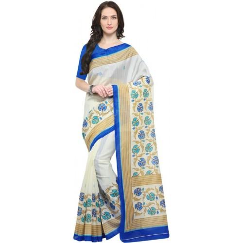 Saara Checkered, Printed Daily Wear Cotton Silk Saree(Blue, White)