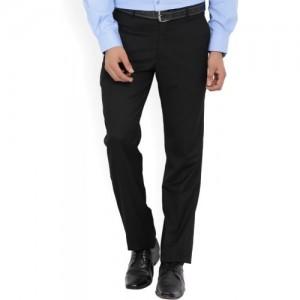 John Players Regular Fit Men Black Trousers