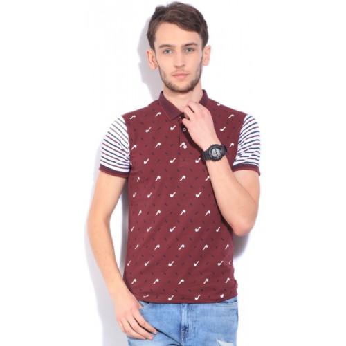 Integriti Printed Men's Polo Neck Maroon T-Shirt