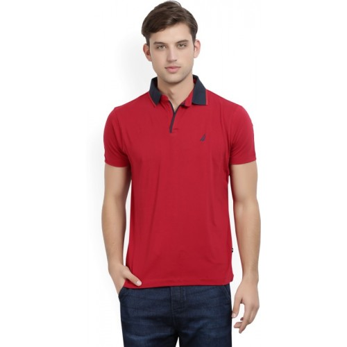 Nautica Solid Men Polo Neck Red, Black T-Shirt