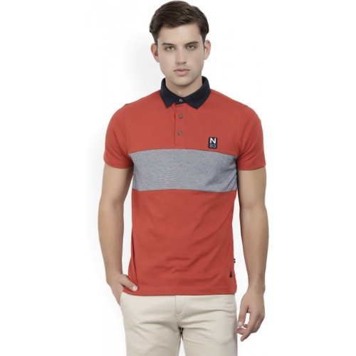 Nautica Solid Men's Polo Neck Red T-Shirt