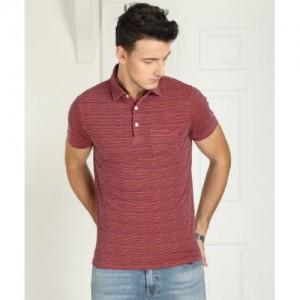 Tommy Hilfiger Striped Men's Polo Neck Pink T-Shirt