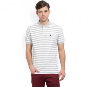 Nautica Striped Men's Polo Neck White, Grey T-Shirt