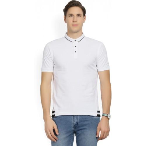 Wrangler Solid Men Polo Neck White T-Shirt