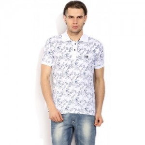John Players Floral Print Men's Polo Neck White T-Shirt