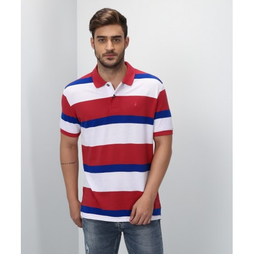 aa0c6db884c Buy John Players Striped Men Polo Neck Multicolor T-Shirt online ...