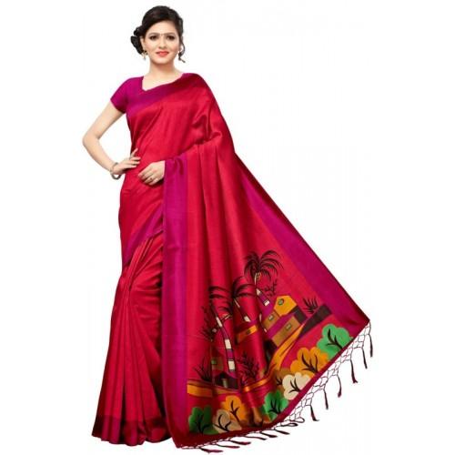Saara Graphic Print, Printed Fashion Poly Silk Saree(Maroon, Pink)