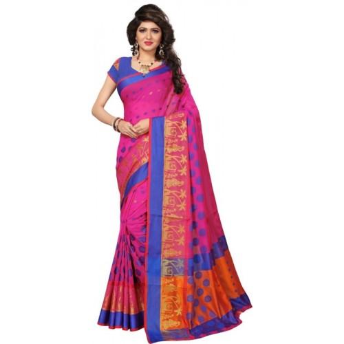Saara Woven Fashion Cotton Silk Saree(Pink, Orange)