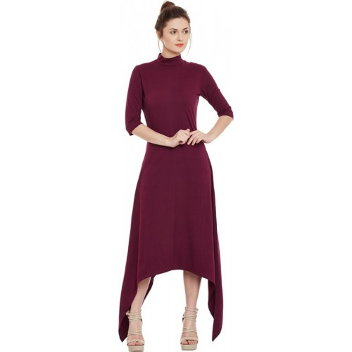 Miss Chase Maroon A-line Cotton  Dress