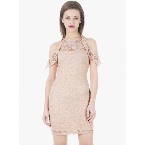 FabAlley Beige Polyester Bodycon Dress