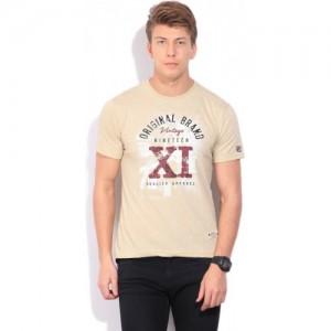 Fila Printed Men Round Neck Beige T-Shirt