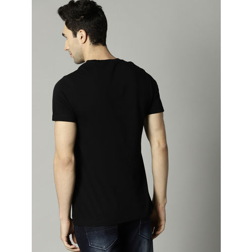 French Connection Printed Men's Round Neck Black T-Shirt