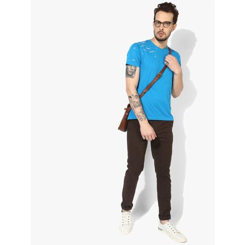 Lee Men Blue Solid Round Neck T-shirt