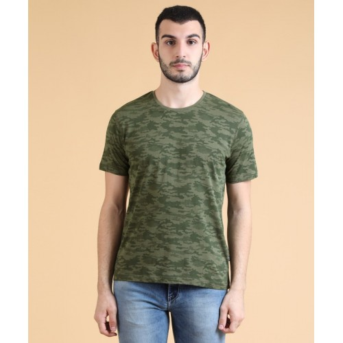 Highlander Solid, Military Camouflage Men Round Neck Green T-Shirt(Pack of 2)