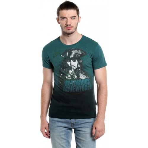 Jack & Jones Graphic Print Men Round Neck Green T-Shirt