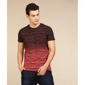 Lee Printed Men's Round Neck Red, Maroon T-Shirt