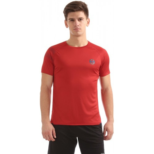 U.S. Polo Assn Solid Men Round Neck Red T-Shirt