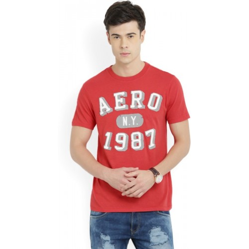 Aeropostale Applique Men's Round Neck Red T-Shirt