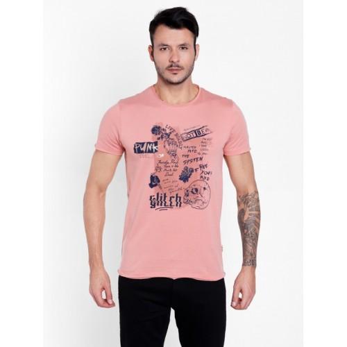 ee96cd463afd Buy Jack & Jones Graphic Print Men's Round Neck Pink T-Shirt online |  Looksgud.in