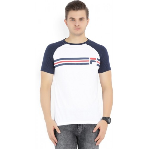Fila Printed Men's Round Neck White, Blue T-Shirt