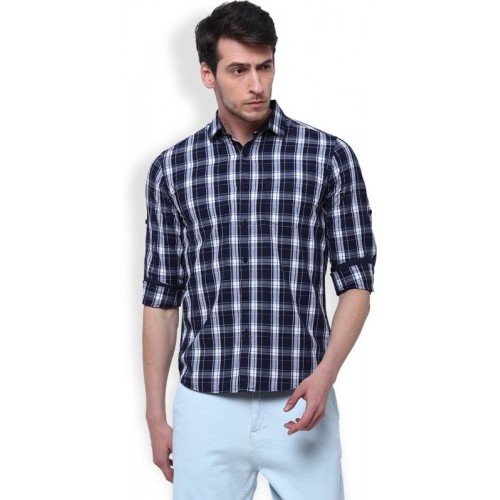 Highlander Men's Checkered Casual Dark Blue, White Shirt