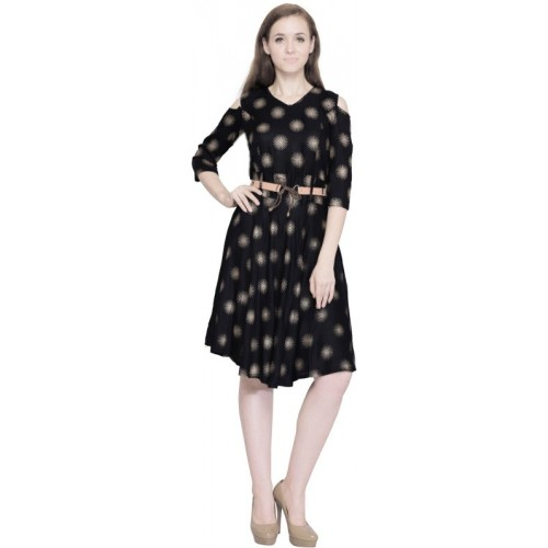AD & AV Black Fit and Flare Synthetic Dress