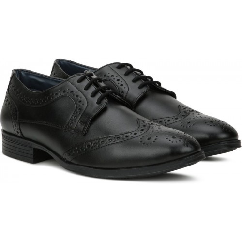 Bata Black Derby Shoes For Men