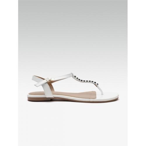 Carlton London Women White Solid T-Strap Flats Sandal
