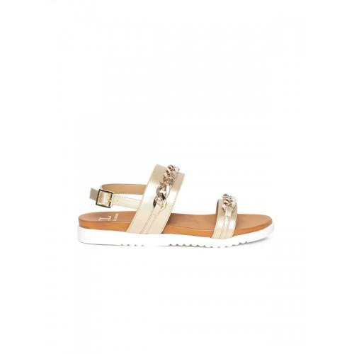 Carlton London Women Golden Synthetic Flat Sandal