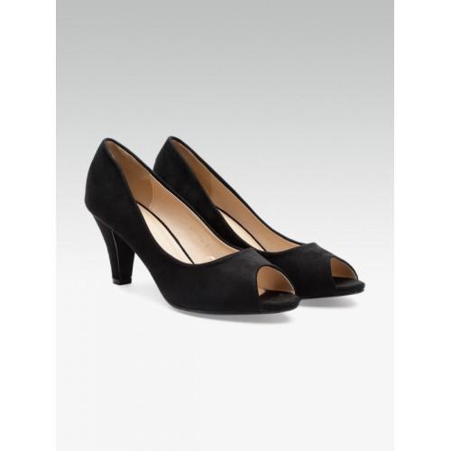 4e858acf83 Buy Carlton London Women Black Synthetic Solid Peep Toes online ...
