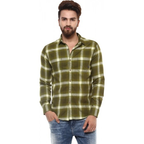 d75914567ef Buy Mufti Men Checkered Casual Green Shirt online