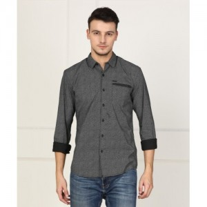 Wrangler Men's Self Design Casual Grey Shirt