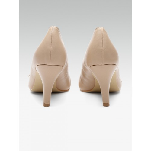 Carlton London Women Beige Solid Pumps