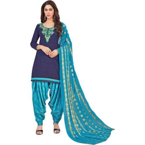 Saara Cotton Solid, Embroidered Salwar Suit Dupatta Material(Un-stitched)