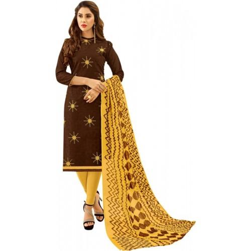 Saara Polycotton Embroidered Salwar Suit Dupatta Material(Un-stitched)
