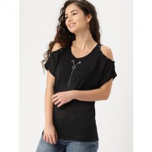 DressBerry Women Black Solid Embellished Cold-shoulder Top