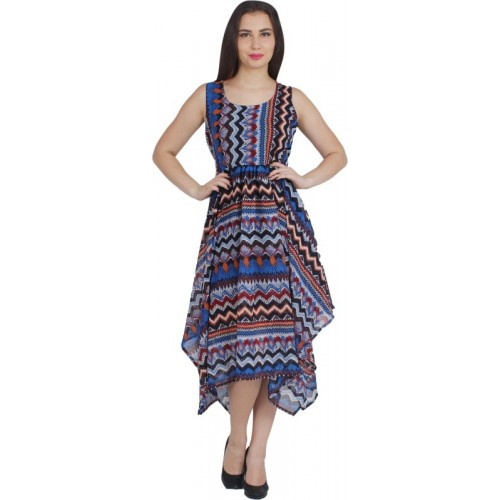 G & M Collections Multicolor Georgette Fit and Flare Dress