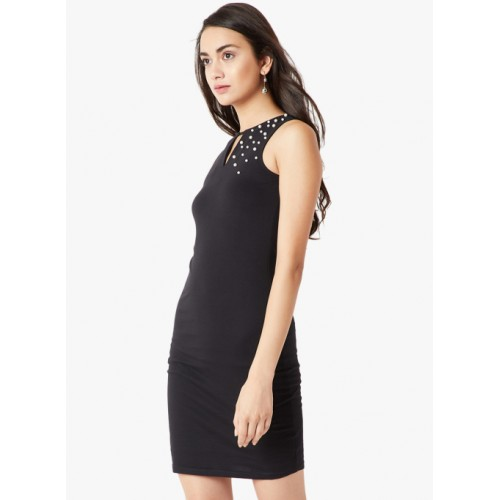 Miss Chase Black Embellished Bodycon Dress
